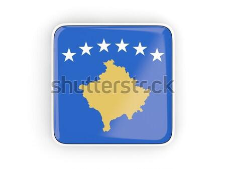Praça ícone bandeira Kosovo metal quadro Foto stock © MikhailMishchenko