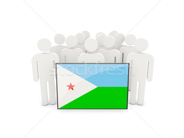 Ludzi banderą Dżibuti odizolowany biały tłum Zdjęcia stock © MikhailMishchenko