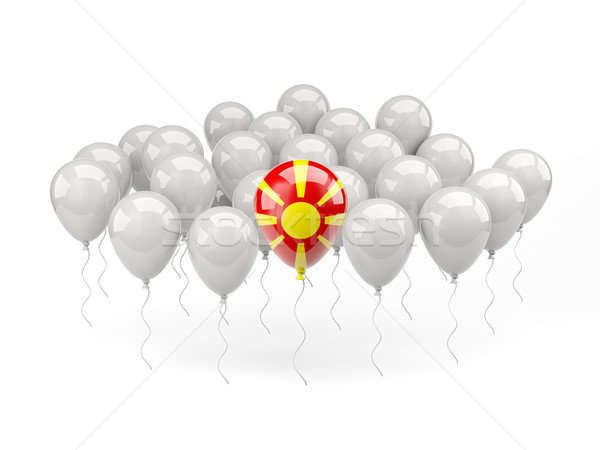 воздуха шаров флаг Македонии изолированный белый Сток-фото © MikhailMishchenko