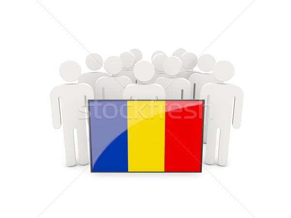 Insanlar bayrak Romanya yalıtılmış beyaz toplantı Stok fotoğraf © MikhailMishchenko