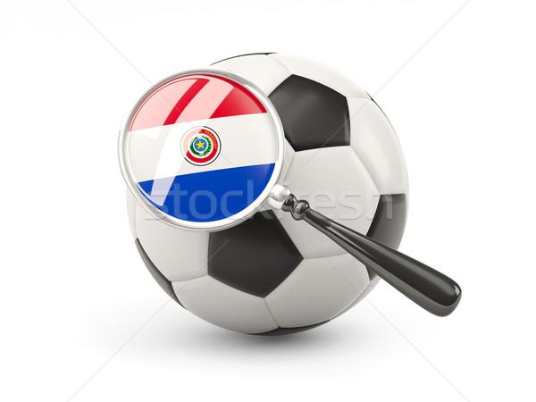 Futball nagyított zászló Paraguay izolált fehér Stock fotó © MikhailMishchenko