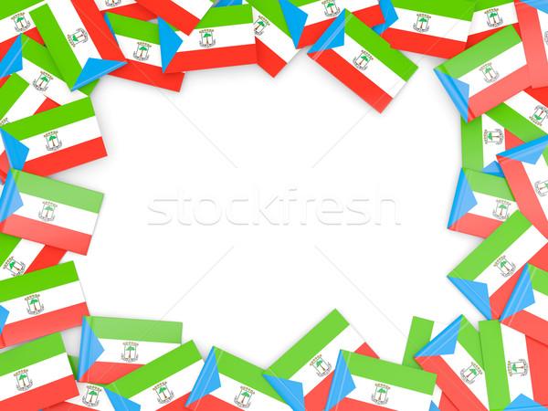 Quadro bandeira Guiné Equatorial isolado branco Foto stock © MikhailMishchenko