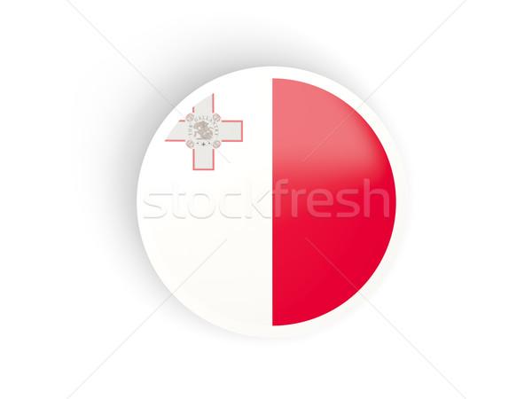 Foto stock: Etiqueta · bandera · Malta · aislado · blanco · viaje