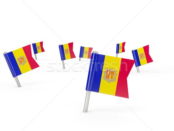 Platz Flagge Andorra isoliert weiß Land Stock foto © MikhailMishchenko