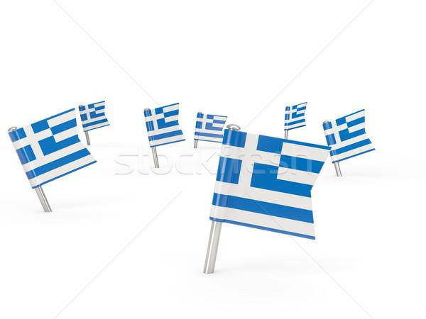 Piazza bandiera Grecia isolato bianco paese Foto d'archivio © MikhailMishchenko