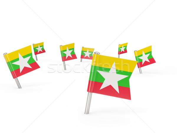 квадратный флаг Мьянма изолированный белый стране Сток-фото © MikhailMishchenko