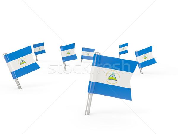 Tér zászló Nicaragua izolált fehér vidék Stock fotó © MikhailMishchenko