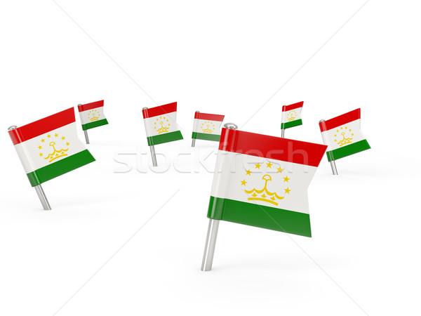 Square pins with flag of tajikistan Stock photo © MikhailMishchenko