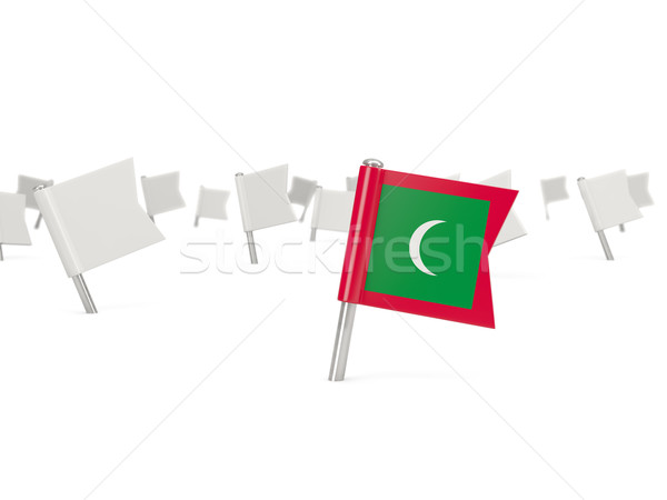 Square pin with flag of maldives Stock photo © MikhailMishchenko