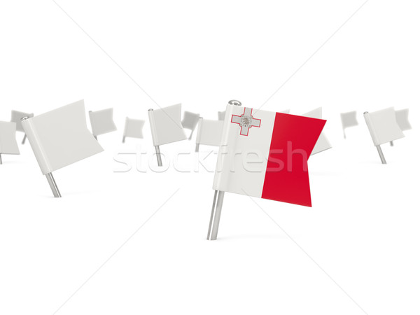 Praça pin bandeira Malta isolado branco Foto stock © MikhailMishchenko