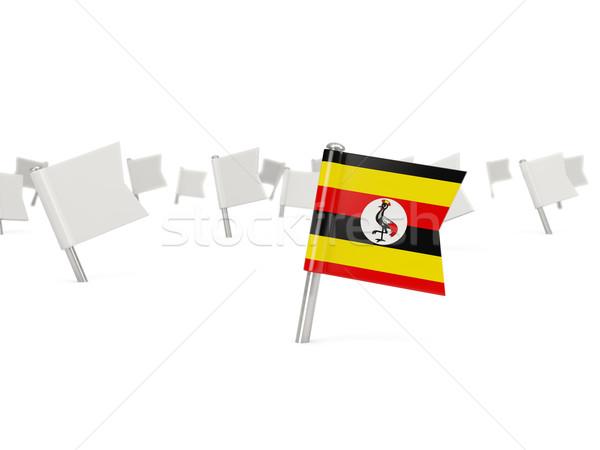 Piazza pin bandiera Uganda isolato bianco Foto d'archivio © MikhailMishchenko