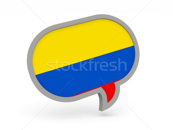Chat ikon zászló Colombia izolált fehér Stock fotó © MikhailMishchenko