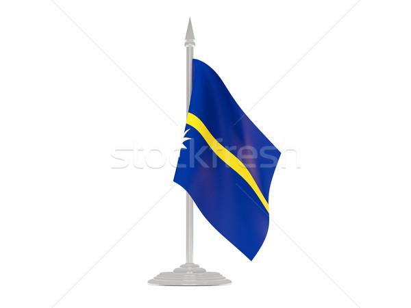 Bandera Nauru asta de bandera 3d aislado blanco Foto stock © MikhailMishchenko