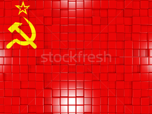 Background with square parts. Flag of ussr. 3D illustration Stock photo © MikhailMishchenko