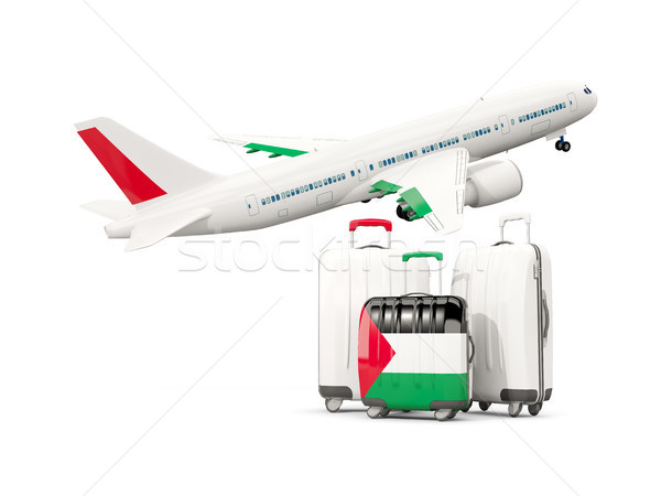 Luggage with flag of palestinian territory. Three bags with airp Stock photo © MikhailMishchenko