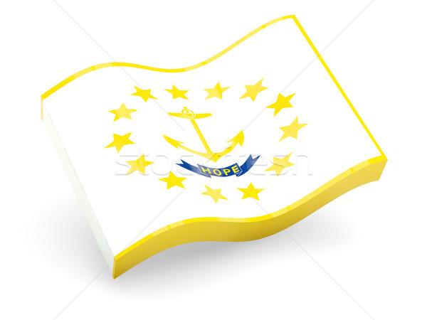 Bandeira ilha onda ícone isolado branco Foto stock © MikhailMishchenko
