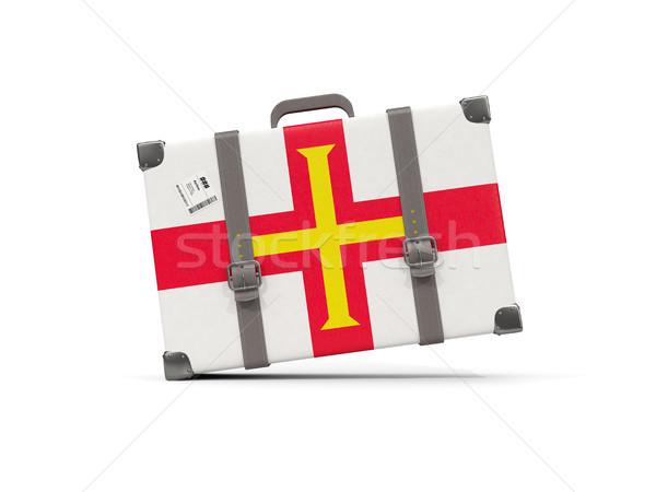 Luggage with flag of guernsey. Suitcase isolated on white Stock photo © MikhailMishchenko