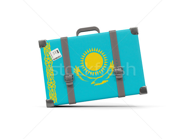 Csomagok zászló Kazahsztán bőrönd izolált fehér Stock fotó © MikhailMishchenko
