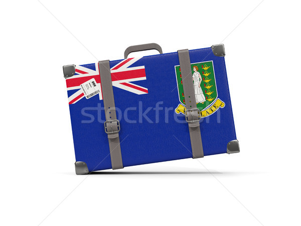 Luggage with flag of virgin islands british. Suitcase isolated o Stock photo © MikhailMishchenko