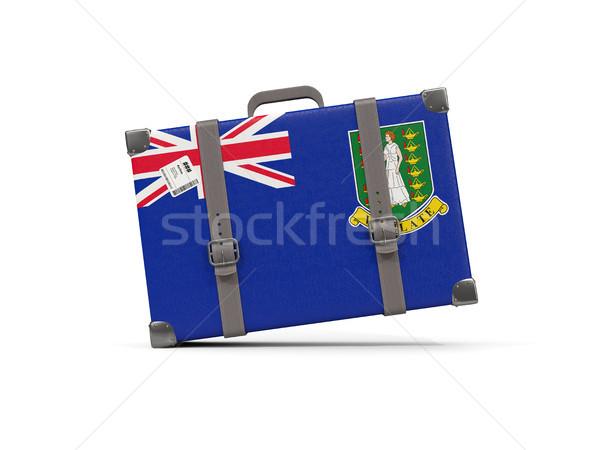 Csomagok zászló Virgin-szigetek brit bőrönd izolált Stock fotó © MikhailMishchenko