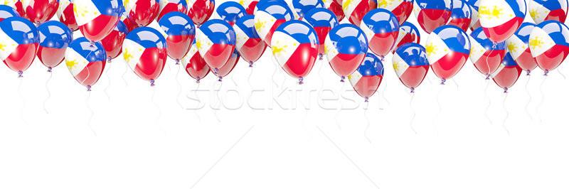 Ballons cadre pavillon Philippines isolé blanche Photo stock © MikhailMishchenko