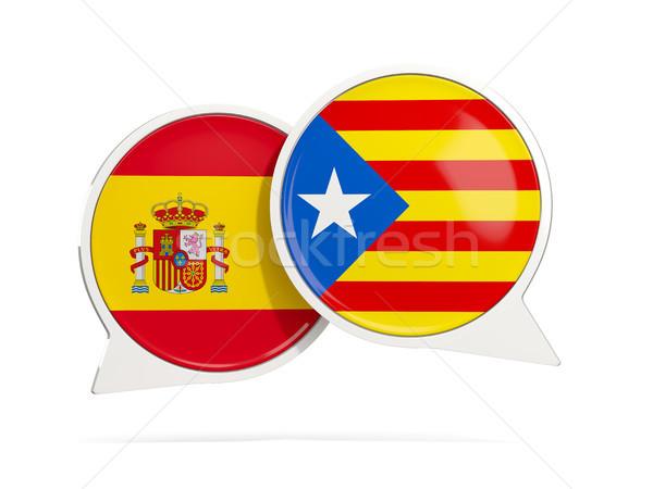 Speech bubbles with flag of spain and Catalonia Stock photo © MikhailMishchenko