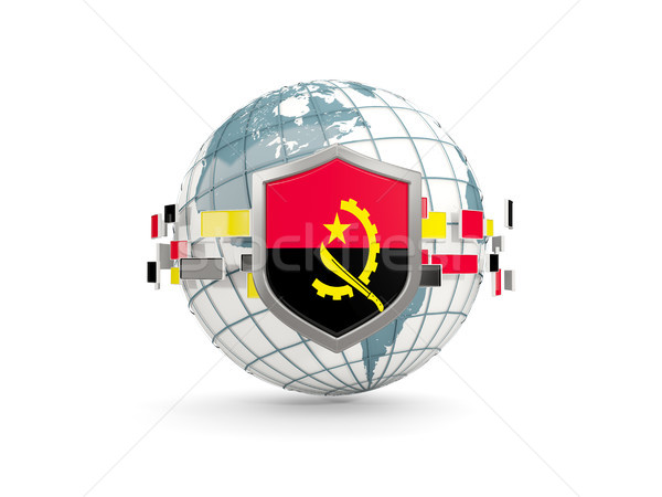 Globe and shield with flag of angola isolated on white Stock photo © MikhailMishchenko
