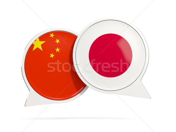 Chat bulles Chine Japon isolé blanche Photo stock © MikhailMishchenko