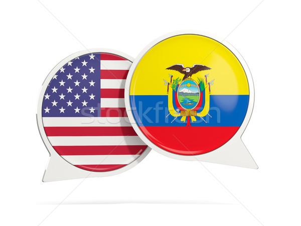 Chat bubbels USA Ecuador geïsoleerd witte Stockfoto © MikhailMishchenko