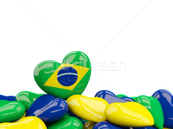 Heart with flag of brazil Stock photo © MikhailMishchenko
