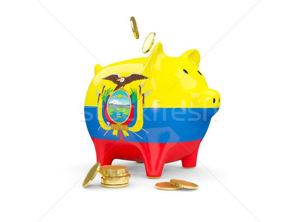 Kövér persely Ecuador pénz izolált fehér Stock fotó © MikhailMishchenko