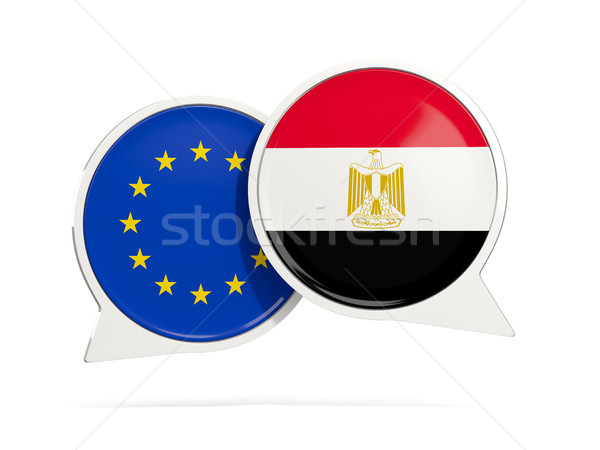 Chat bubbles of EU and Egypt isolated on white Stock photo © MikhailMishchenko