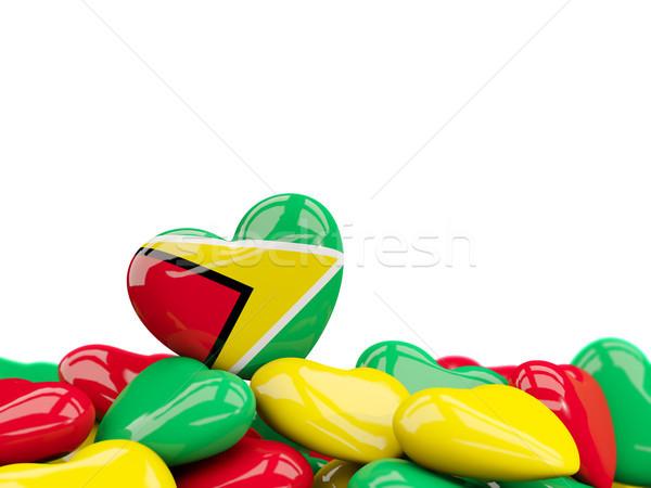 Szív zászló Guyana felső szívek izolált Stock fotó © MikhailMishchenko