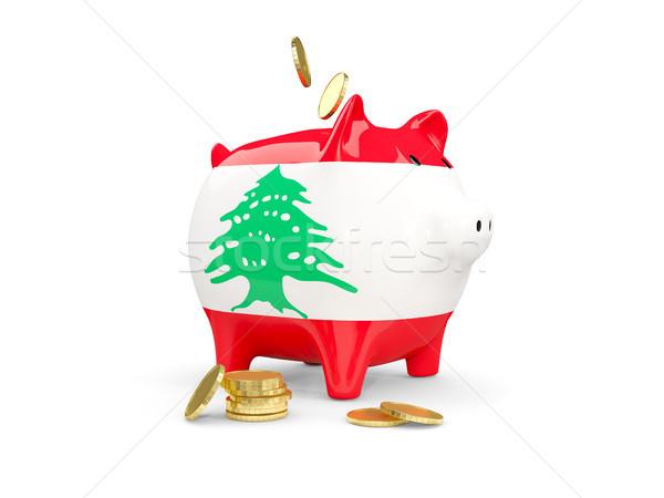 Kövér persely Libanon pénz izolált fehér Stock fotó © MikhailMishchenko