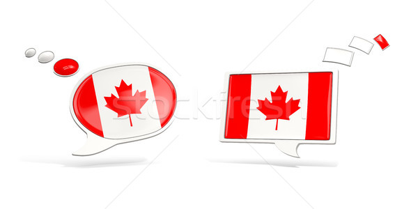 Two chat icons with flag of canada Stock photo © MikhailMishchenko