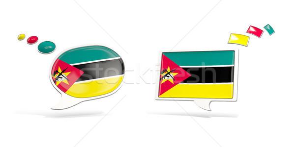 Dois conversar ícones bandeira Moçambique praça Foto stock © MikhailMishchenko
