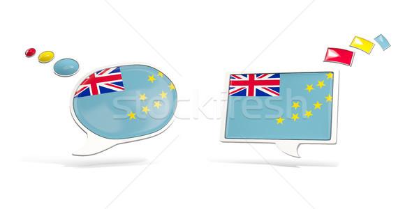 Dois conversar ícones bandeira Tuvalu praça Foto stock © MikhailMishchenko