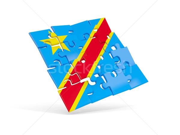 Puzzle Flagge demokratischen Republik Kongo isoliert Stock foto © MikhailMishchenko