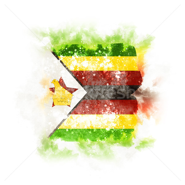 Square grunge flag of zimbabwe Stock photo © MikhailMishchenko