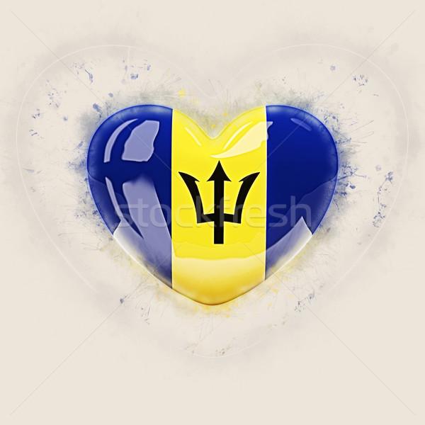 Coração bandeira Barbados grunge ilustração 3d viajar Foto stock © MikhailMishchenko