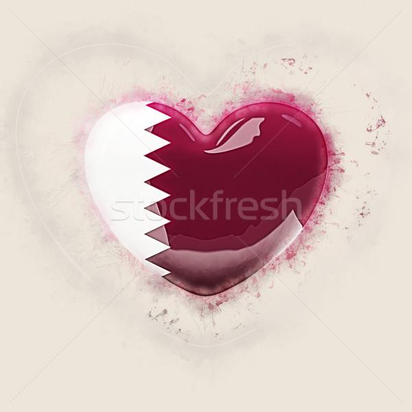 Heart with flag of qatar Stock photo © MikhailMishchenko