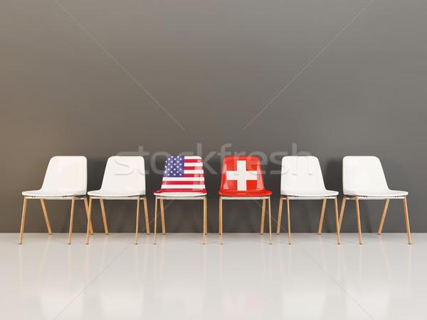 стульев флаг США Швейцария 3d иллюстрации Сток-фото © MikhailMishchenko