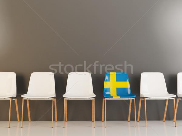 Stoel vlag Zweden rij witte stoelen Stockfoto © MikhailMishchenko