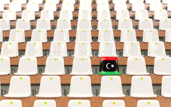 Stadion siedziba banderą Libia rząd biały Zdjęcia stock © MikhailMishchenko