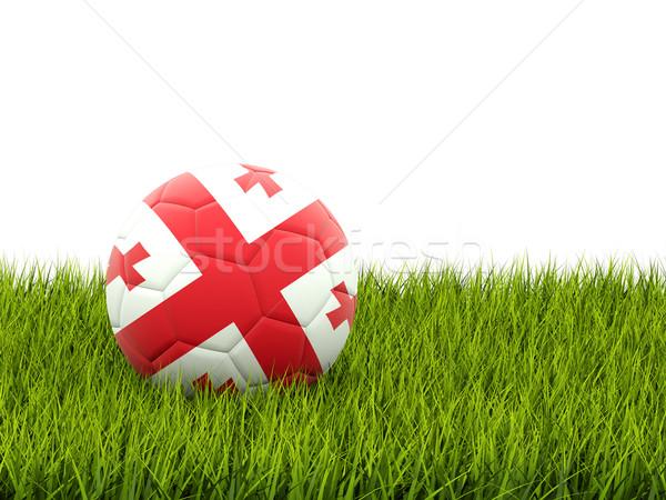 Futball zászló Grúzia zöld fű futball mező Stock fotó © MikhailMishchenko