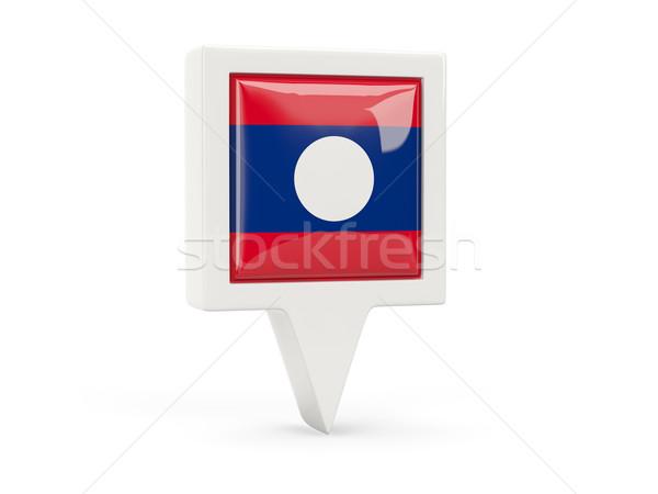 Placu banderą ikona Laos odizolowany biały Zdjęcia stock © MikhailMishchenko
