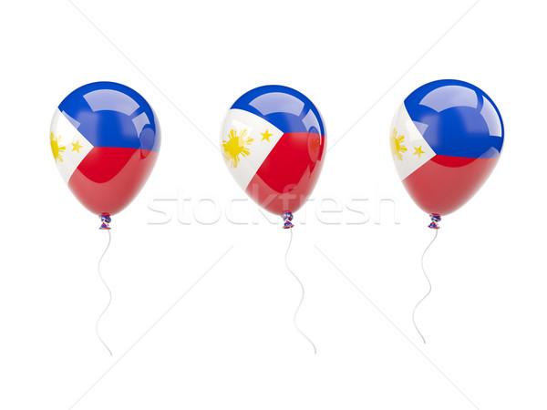 Powietrza balony banderą Filipiny odizolowany biały Zdjęcia stock © MikhailMishchenko