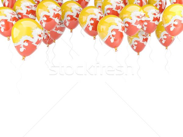Balão quadro bandeira Butão isolado branco Foto stock © MikhailMishchenko