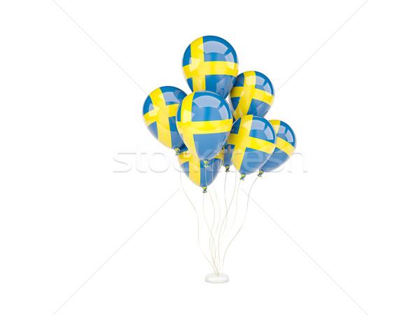 Voador balões bandeira Suécia isolado branco Foto stock © MikhailMishchenko
