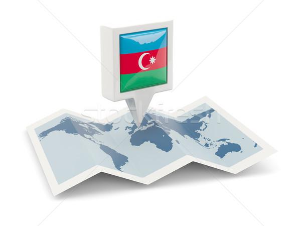 Placu pin banderą Azerbejdżan Pokaż podróży Zdjęcia stock © MikhailMishchenko